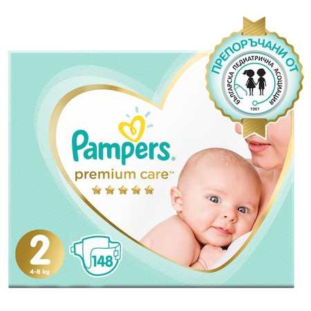 Пелени Pampers Premium Care Mega Box 2, 4-8 кг, 148 броя