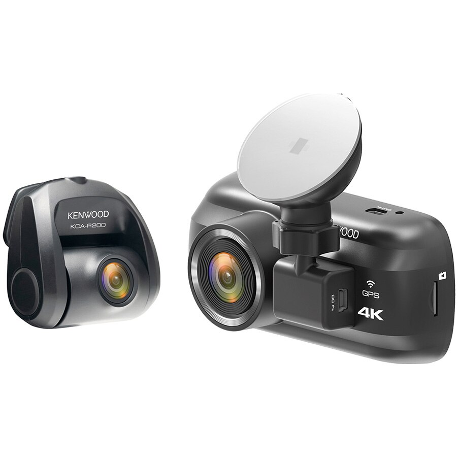 "Fotografie Camera auto DVR duala Kenwood A601WR200, 4K, Ecran 3"", HDR, Wi-fi, GPS, Filtru polarizare inclus, Card 64GB inclus, unghi vizualizare 130° fata/ 161° spate, Suport prindere magnetic"