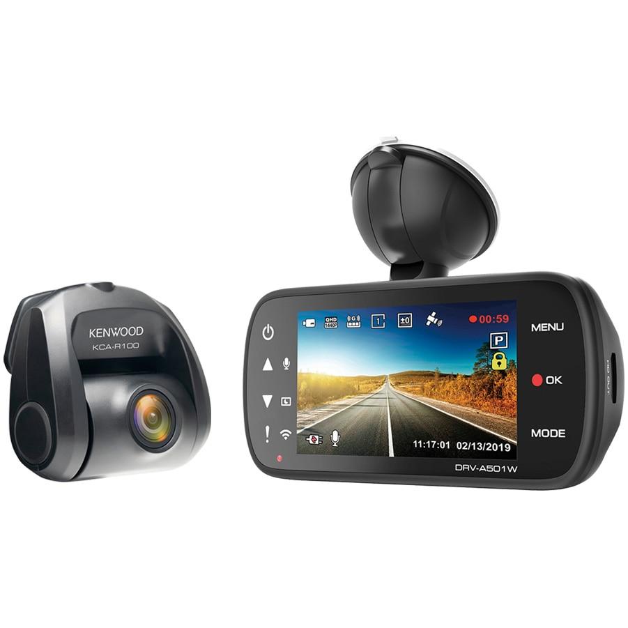 "Fotografie Camera auto DVR duala Kenwood A501WR100, Rezolutie Quad HD, Ecran 3"", HDR, Wi-fi, GPS, Filtru polarizare inclus, Card 16GB inclus, Senzor G cu 3 axe, unghi vizualizare 126° fata/ 161° spate, Suport prindere magnetic"