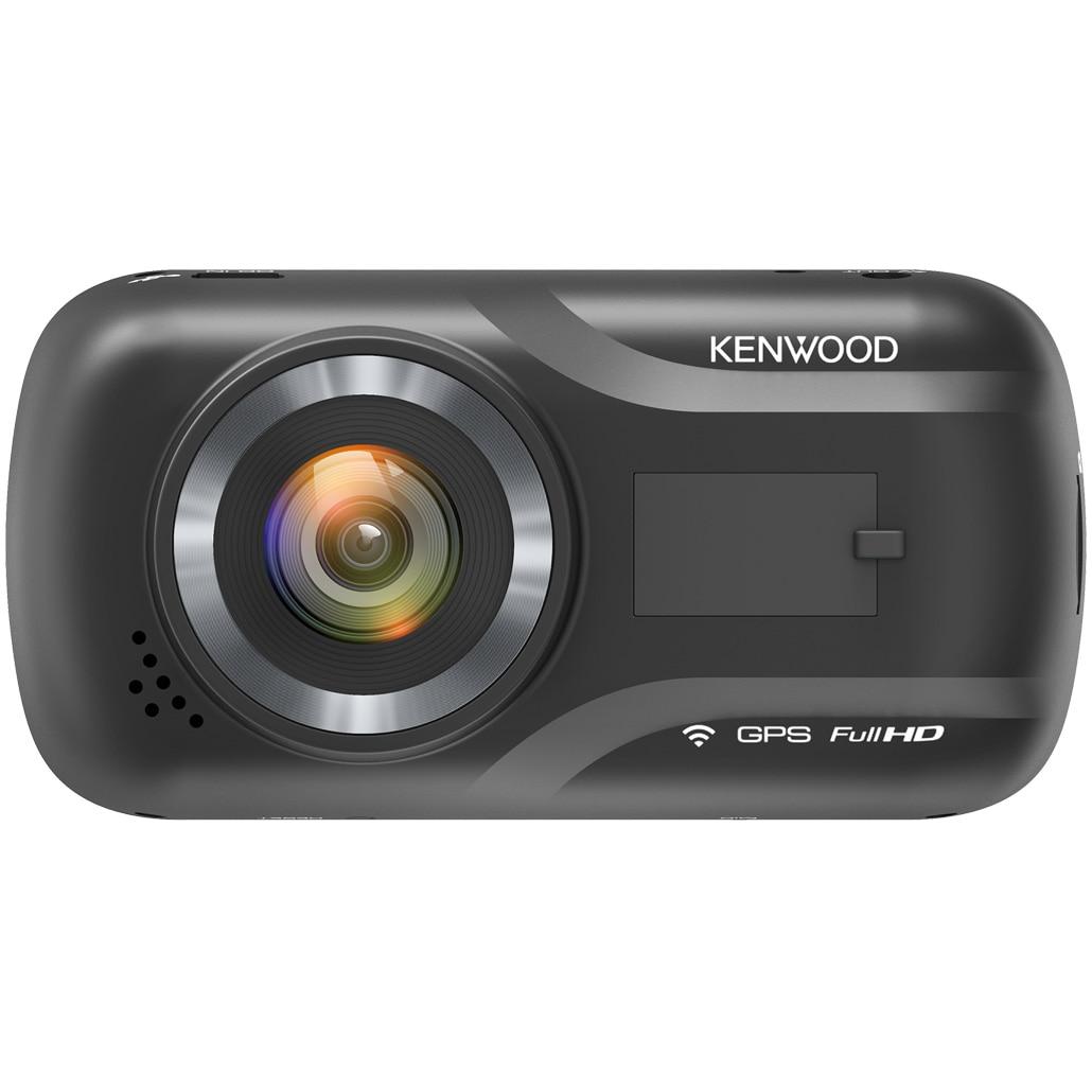 "Fotografie Camera auto DVR Kenwood A301W, Rezolutie Full HD, Ecran 2.7"", HDR, Wi-fi, GPS, Card 16GB inclus, Senzor G cu 3 axe, unghi vizualizare 136°, Suport prindere magnetic"
