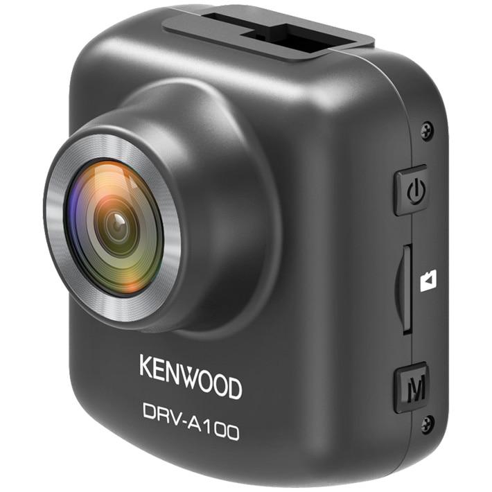 "Fotografie Camera auto DVR Kenwood A100, Rezolutie HD, Ecran 2"", Senzor G cu 3 axe, unghi vizualizare 125°, Card 16GB inclus, Suport prindere magnetic"