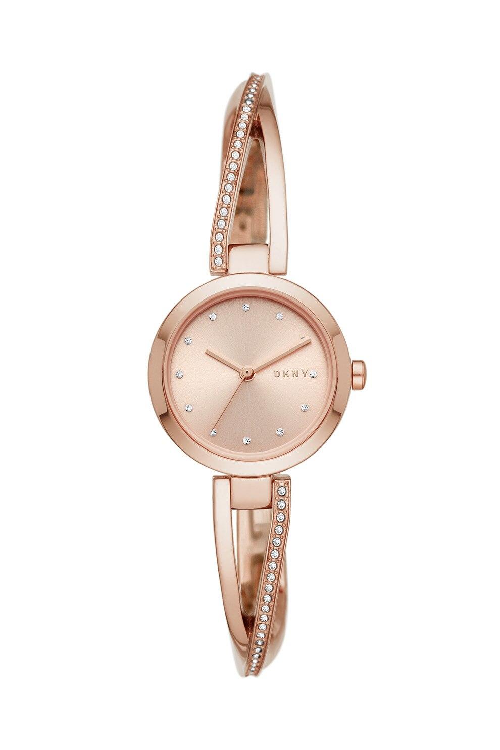 Fotografie DKNY, Ceas din otel inoxidabil decorat cu cristale, Auriu rose