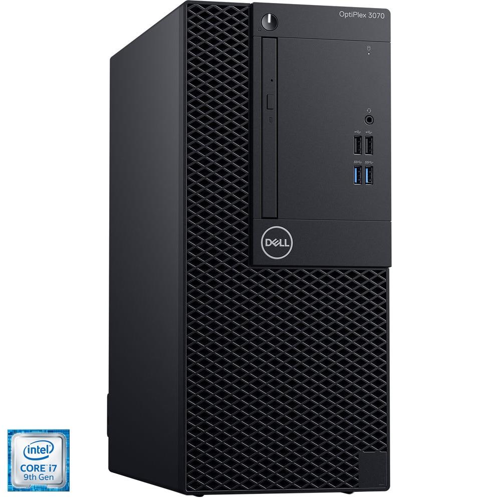 Fotografie Sistem PC Desktop Dell OptiPlex 3070 MT cu procesor Intel® Core™ i7-9700 pana la 4.70 GHz, Coffee Lake, 8GB, 256GB SSD, Intel® UHD Graphics 630, Microsoft Windows 10 Pro