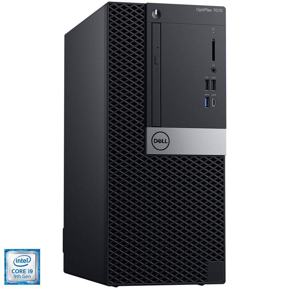 Fotografie Sistem Desktop PC Dell OptiPlex 7070 MT cu procesor Intel® Core™ i9-9900 pana la 4.90 GHz, Coffee Lake, 32GB DDR4, 512GB SSD M.2 PCIe, Intel UHD Graphics 630, Microsoft Windows 10 Pro, Black