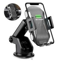 Suport auto de telefon cu incarcare Wireless, COOCHEER, 10 W, Fast charge, Qi, Compatibil cu iPhone 12/11/Xs/Max/X/XR/8/8 Plus si Samsung Note9/S9+/S8, Negru