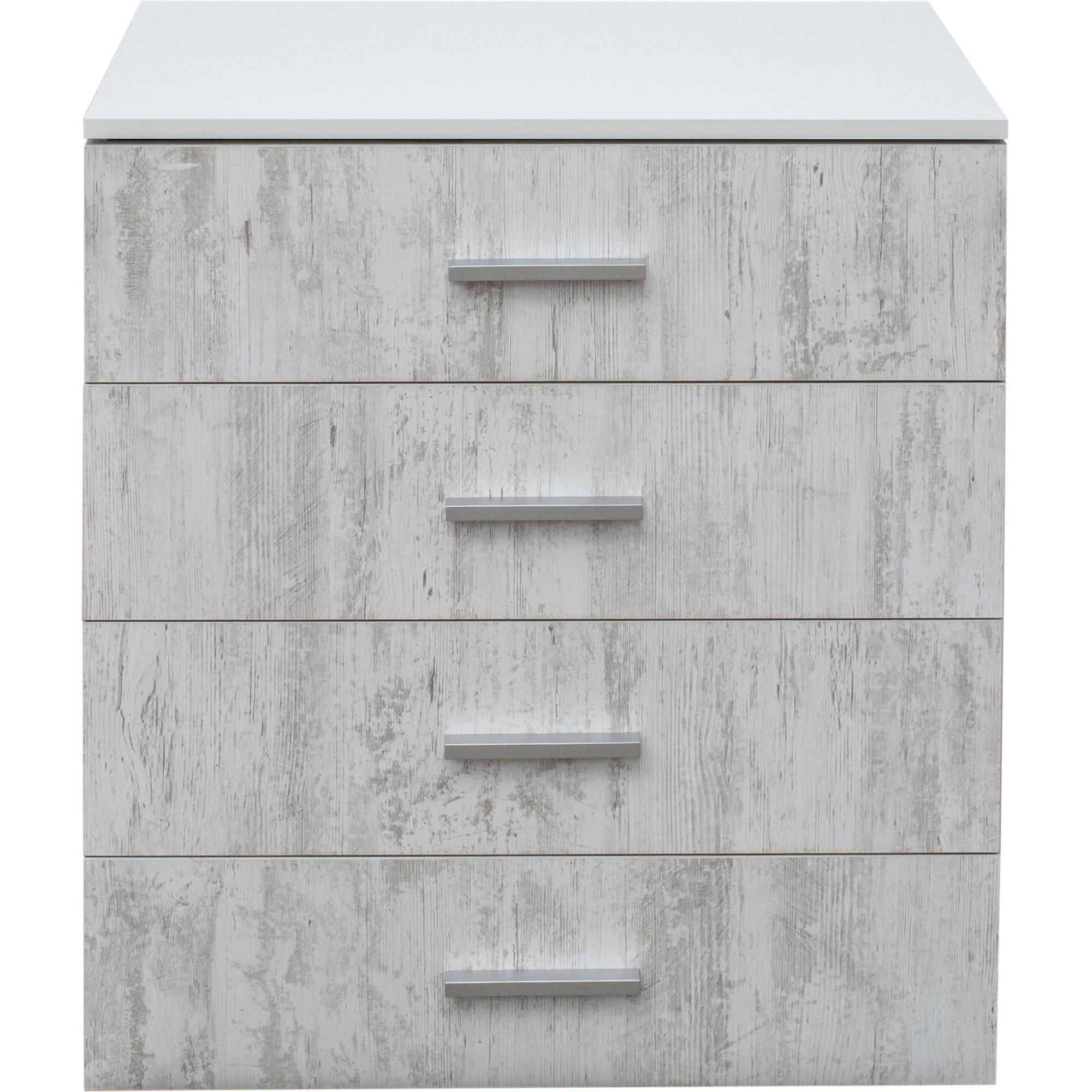 Fotografie Comoda Kring Antiq 4 Sertare, 70x40x83 cm, culoare alb + antiq