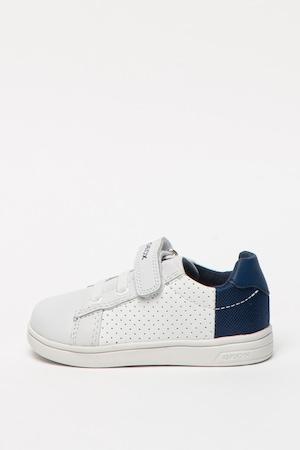 Geox, Кожени спортни обувки Dj. Rock с отделящи се стелки, Бял/Тъмносин, 25 EU
