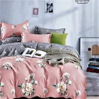 GGT- 7 részes pamut ágyneműhuzat lila és rózsaszín színben virág mintával