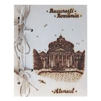 Suvenir agenda din lemn pirogravata, Artizanat Ilsaf, Ateneul Bucuresti, 18.5x15x2.5 cm