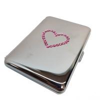 Дамска Табакера сърце Eleon 309370, розови кристали Swarovski, 20бр*80мм цигари