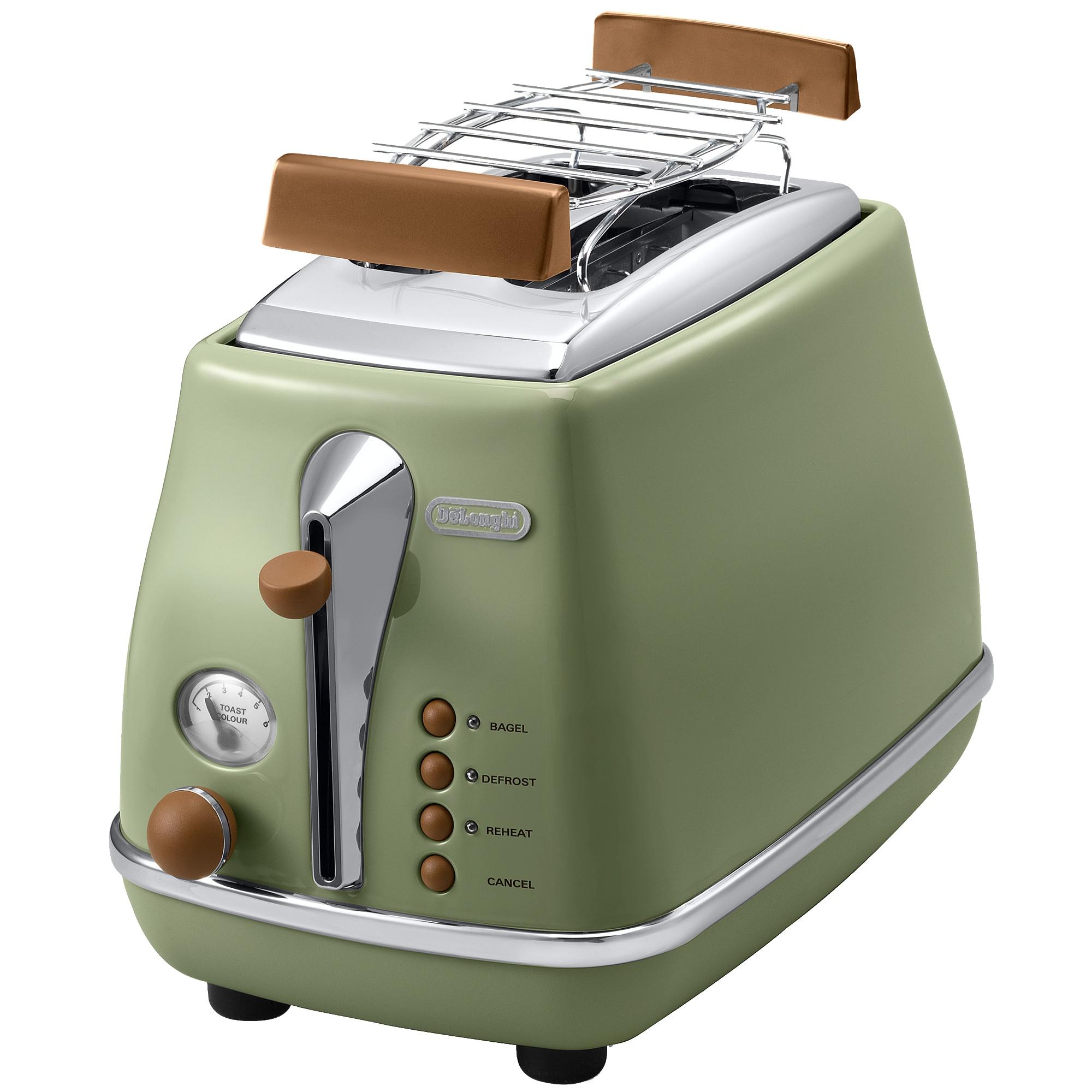 Fotografie Prajitor de paine De'Longhi Icona Vintage CTOV 2103.GR, 900 W, 2 Felii, Control electronic rumenire, Suport de incalzire, Verde