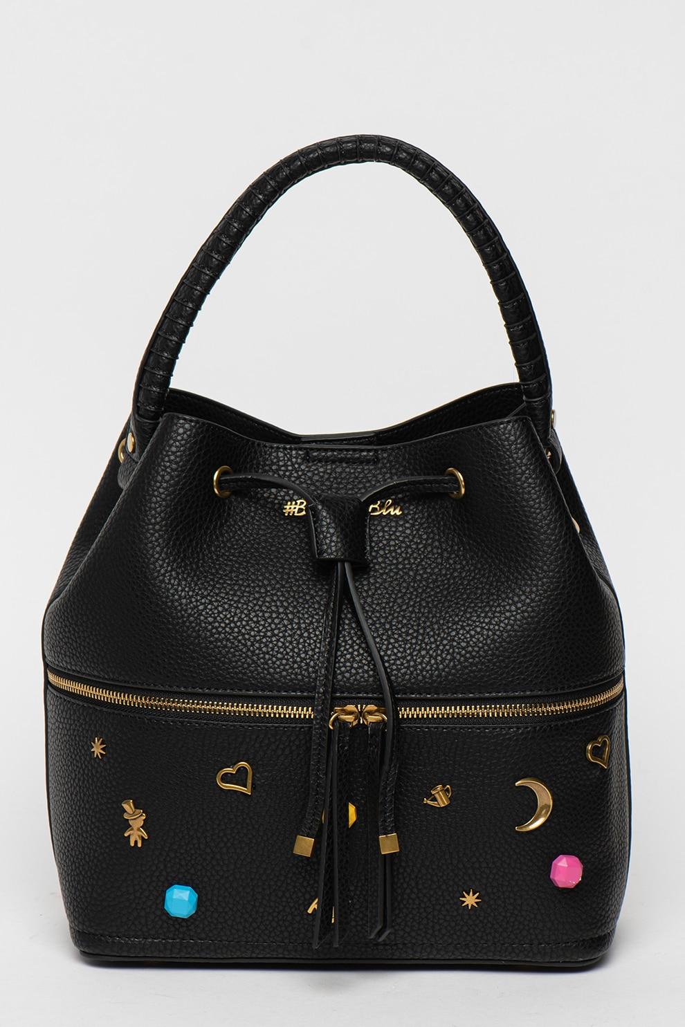 Fotografie Tosca Blu, Geanta bucket din piele ecologica cu aplicatii decorative, Negru