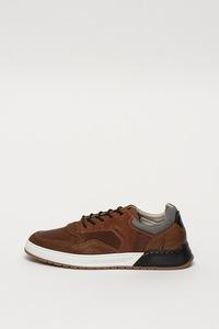 Bullboxer, Ръчно изработени кожени спортни обувки с набук, Коняк, 45