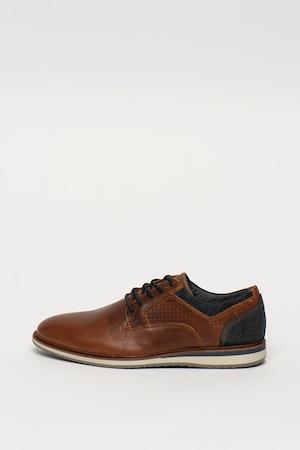 Bullboxer, Kézzel készített bőrcipő farmerbetétekkel, Barna, 44