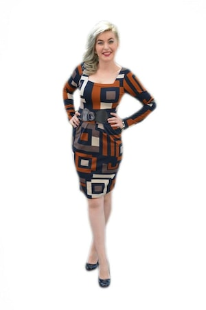 Rochie cu model de carouri mari,D&J Exclusive, Maro