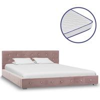vidaXL rózsaszín bársonyágy memóriahabos matraccal 140 x 200 cm