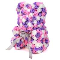 Rózsa maci díszdobozban, örök virág maci - rózsaszín-lila-fehér mix 25 cm