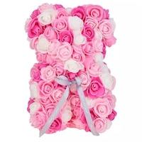 Rózsa maci díszdobozban, örök virág maci - rózsaszín-fehér mix 25 cm