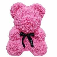 Rózsa maci díszdobozban, örök virág maci - rózsaszín 40 cm