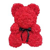 Rózsa maci díszdobozban, örök virág maci - piros 40 cm
