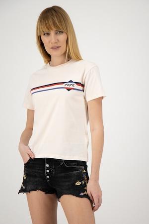 Pepe Jeans London, Tricou cu imprimeu logo Payton, Roz pal, XS