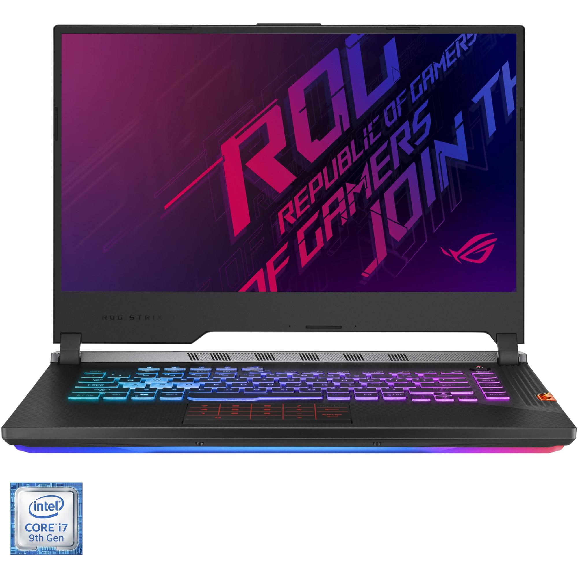 "Fotografie Laptop Gaming ASUS ROG Strix SCAR III G531GW cu procesor Intel® Core™ i7-9750H pana la 4.50 GHz Coffee Lake, 15.6"", Full HD, 240Hz, 16GB, 512GB SSD, NVIDIA® GeForce RTX™ 2070 8GB, Free DOS, Gunmetal Gray"