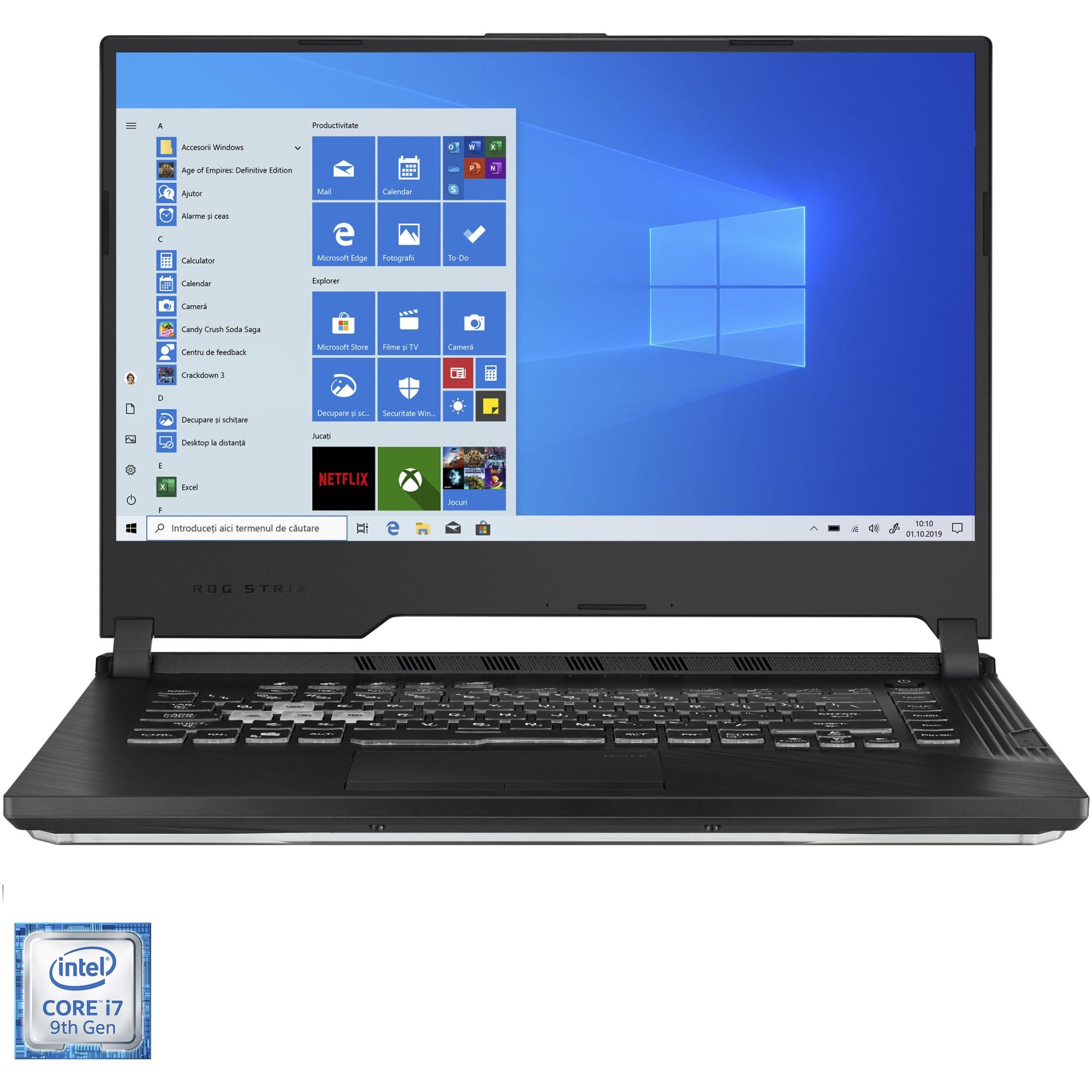 "Fotografie Laptop Gaming ASUS ROG Strix G G531GW cu procesor Intel® Core™ i7-9750H pana la 4.50 GHz Coffee Lake, 15.6"", Full HD, 120Hz, 16GB, 1TB SSD, NVIDIA® GeForce RTX™ 2070 8GB, Windows 10 Home, Black"