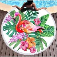 Színes flamingós kerek törölköző