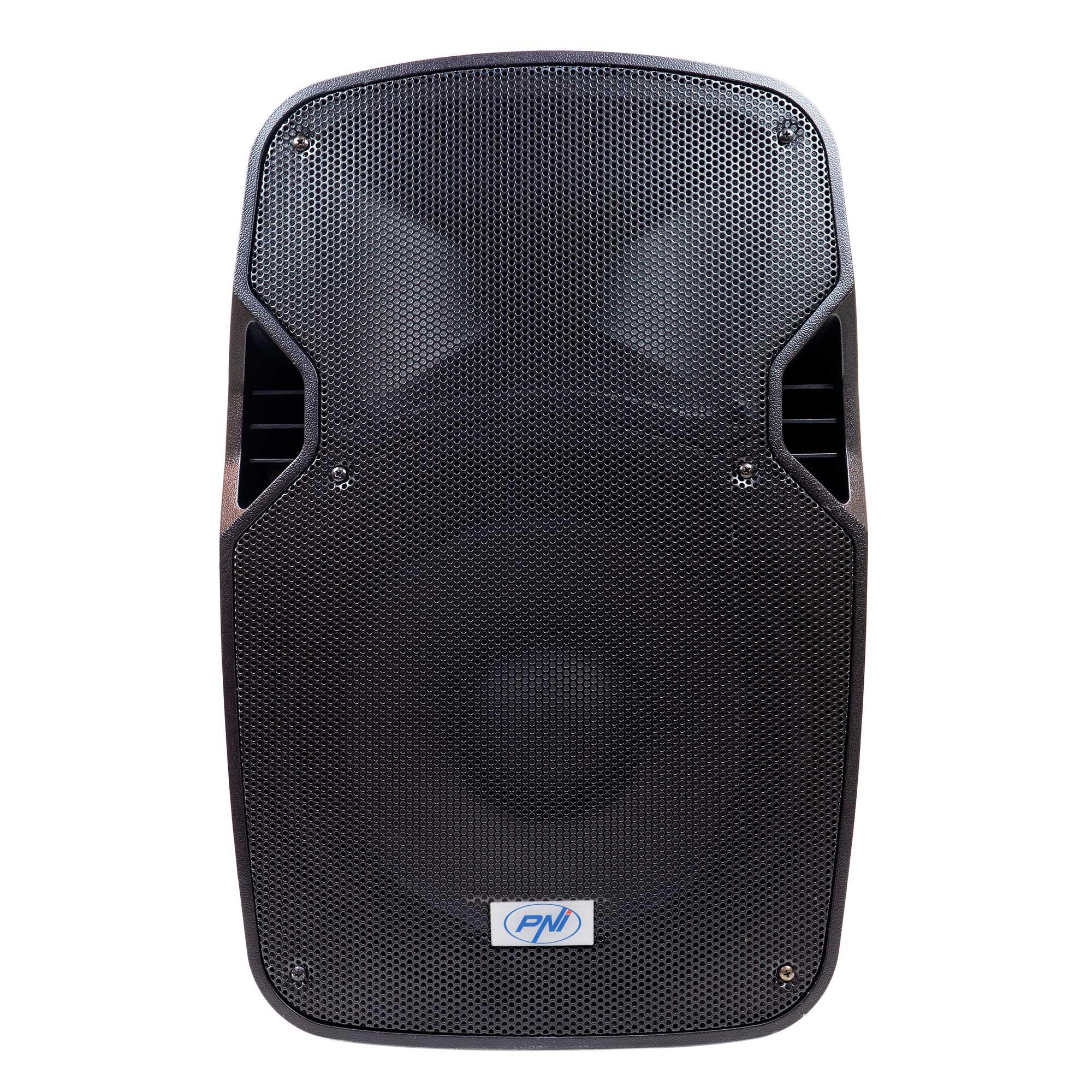 Fotografie Boxa portabila PNI FunBox BT1800, RMS 180W, woofer 12 inch, cu Bluetooth, MP3 player, SD, USB, radio FM, karaoke, functie Echo si 2 microfoane UHF incluse