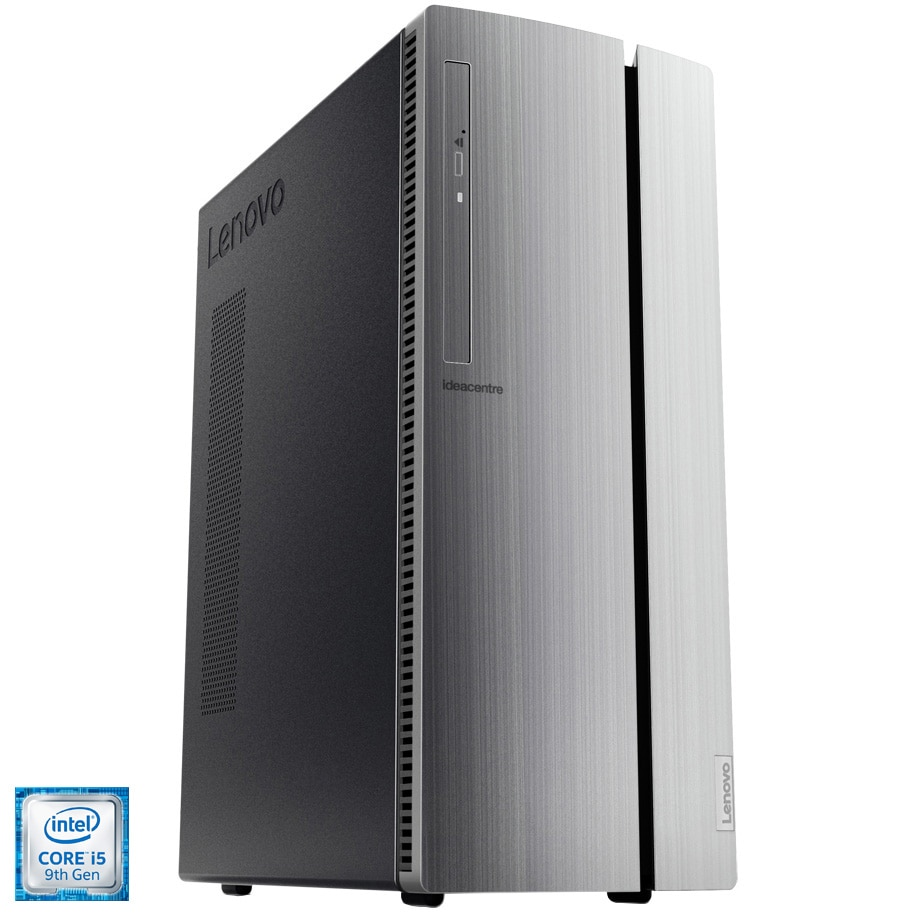 Fotografie Sistem Desktop PC Lenovo IdeaCentre 510-15ICK cu procesor Intel® Core™ i5-9400 pana la 4.10 GHz, Coffee Lake, 4GB DDR4, 512GB SSD M.2 2280 PCIe NVMe Opal2, Intel UHD Graphics 630, DVD-RW, 7-in-1 Card Reader, Warm Silver, Mouse + Tastatura