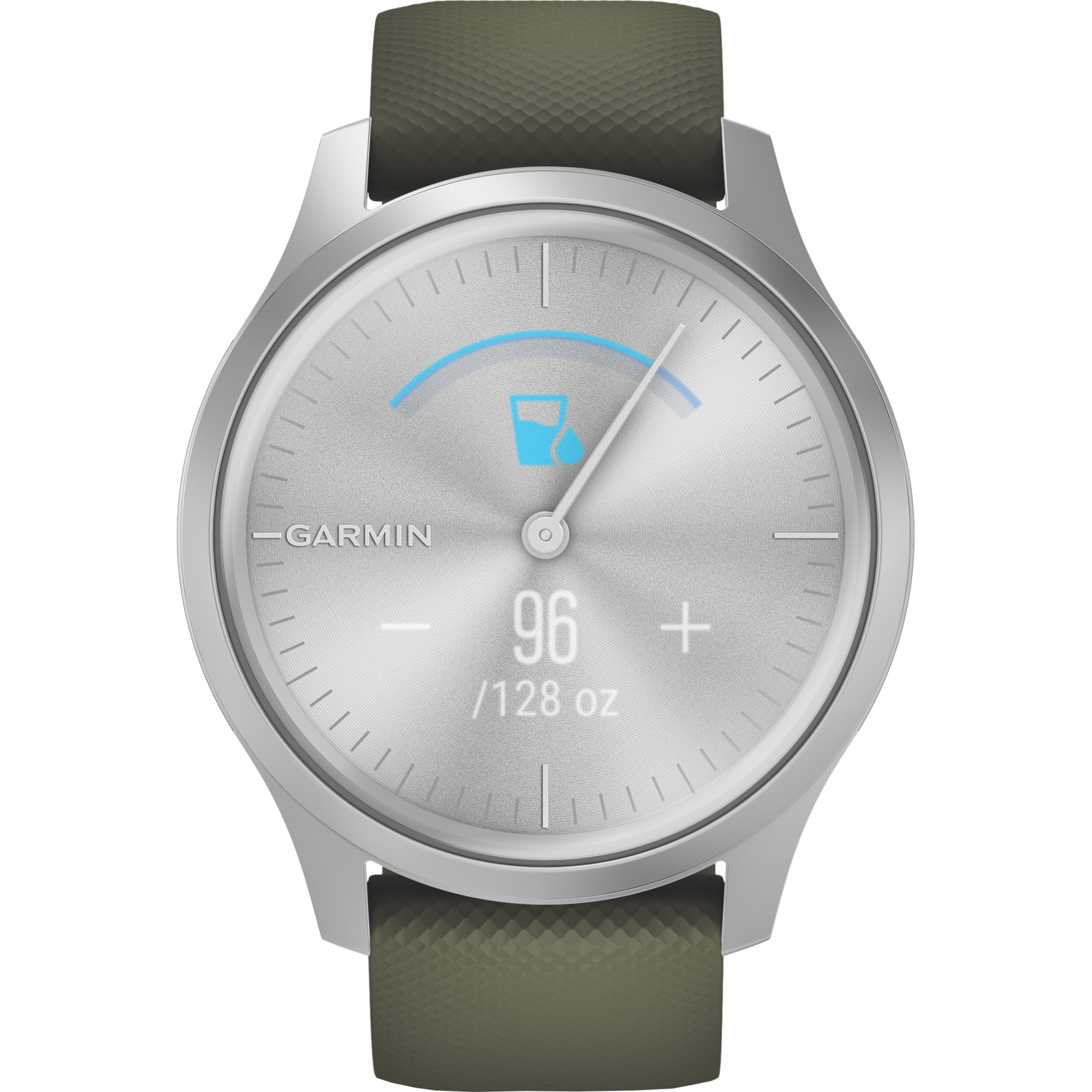 Fotografie Ceas Smartwatch Garmin Vivomove Style, Silver/Moss Green, Silicone Band