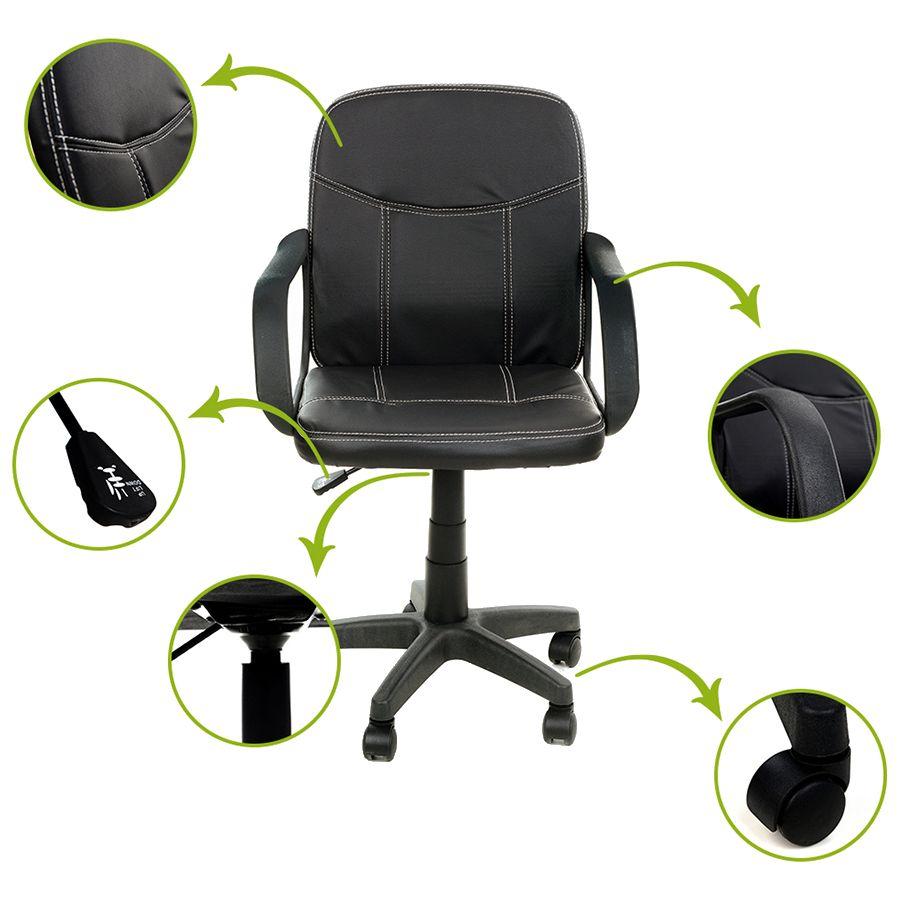FunFit ergonómikus, állítható és forgó irodai szék, műbőr, fekete szín