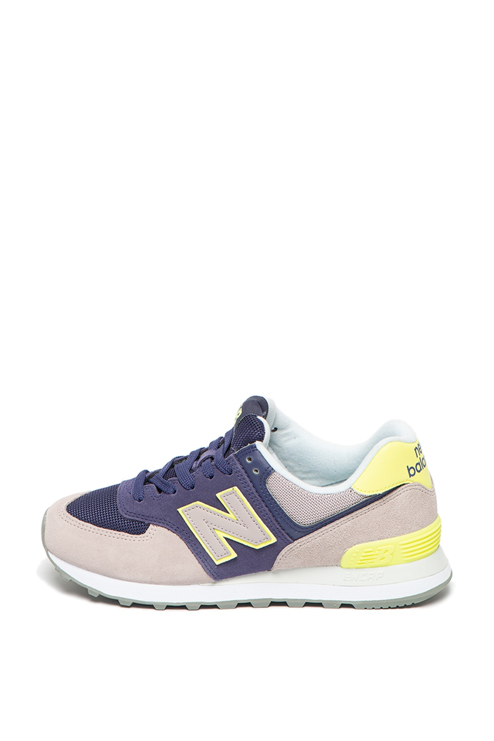 New Balance, Pantofi sport de piele intoarsa, cu garnituri neon ...