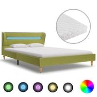 vidaXL zöld LED-es szövetágy matraccal 140 x 200 cm