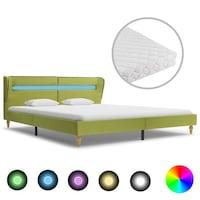 vidaXL zöld LED-es szövetágy matraccal 160 x 200 cm