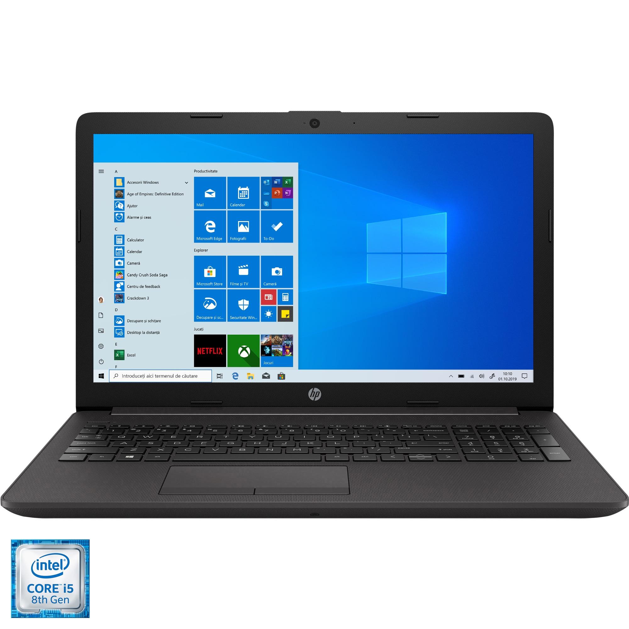 """Fotografie Laptop HP 250 G7 cu procesor Intel Core i5-8265U pana la 3.90 GHz, 15.6"""", Full HD, 8GB, 1TB HDD, DVD-RW, Intel UHD Graphics, Windows 10 Pro, Dark Ash Silver"""