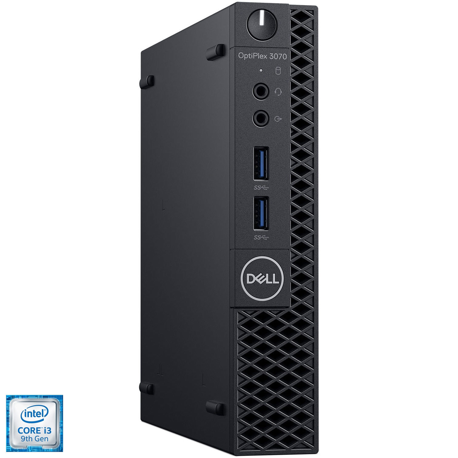 Fotografie Mini PC Dell Optiplex 3070 MFF cu procesor Intel® Core i3-9100T pana la 3.70GHz, Coffee Lake, 8GB DDR4, 256GB SSD M.2 NVMe, Intel® UHD Graphics 630, Ubuntu, Black