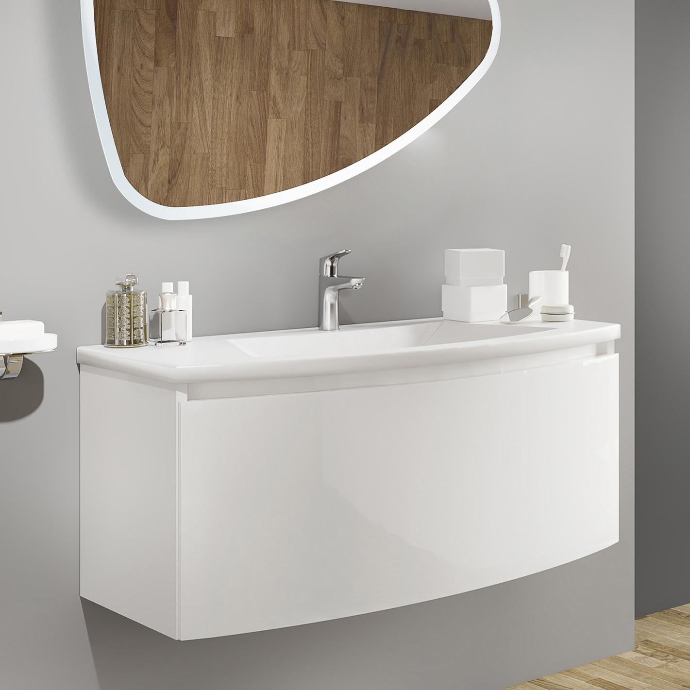 Fotografie Baza mobilier Kring Luna, cu un sertar cu inchidere amortizata, infoliat alb lucios, 101x41x49 cm