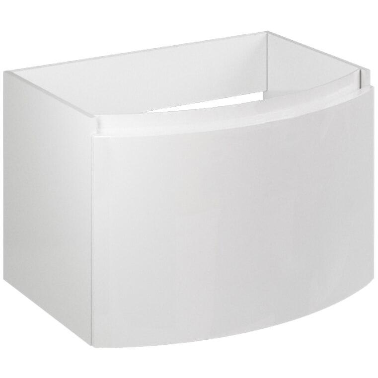 Fotografie Baza mobilier Kring Luna, cu un sertar cu inchidere amortizata, infoliat alb lucios, 61x41x49 cm