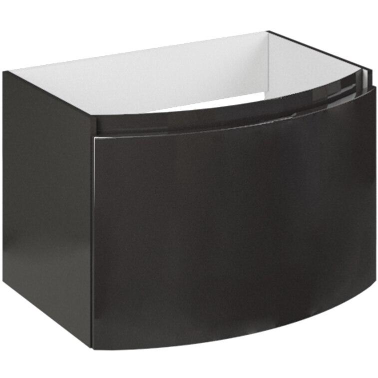 Fotografie Baza mobilier Kring Luna, cu un sertar cu inchidere amortizata, infoliat gri inchis lucios, 61x41x49 cm