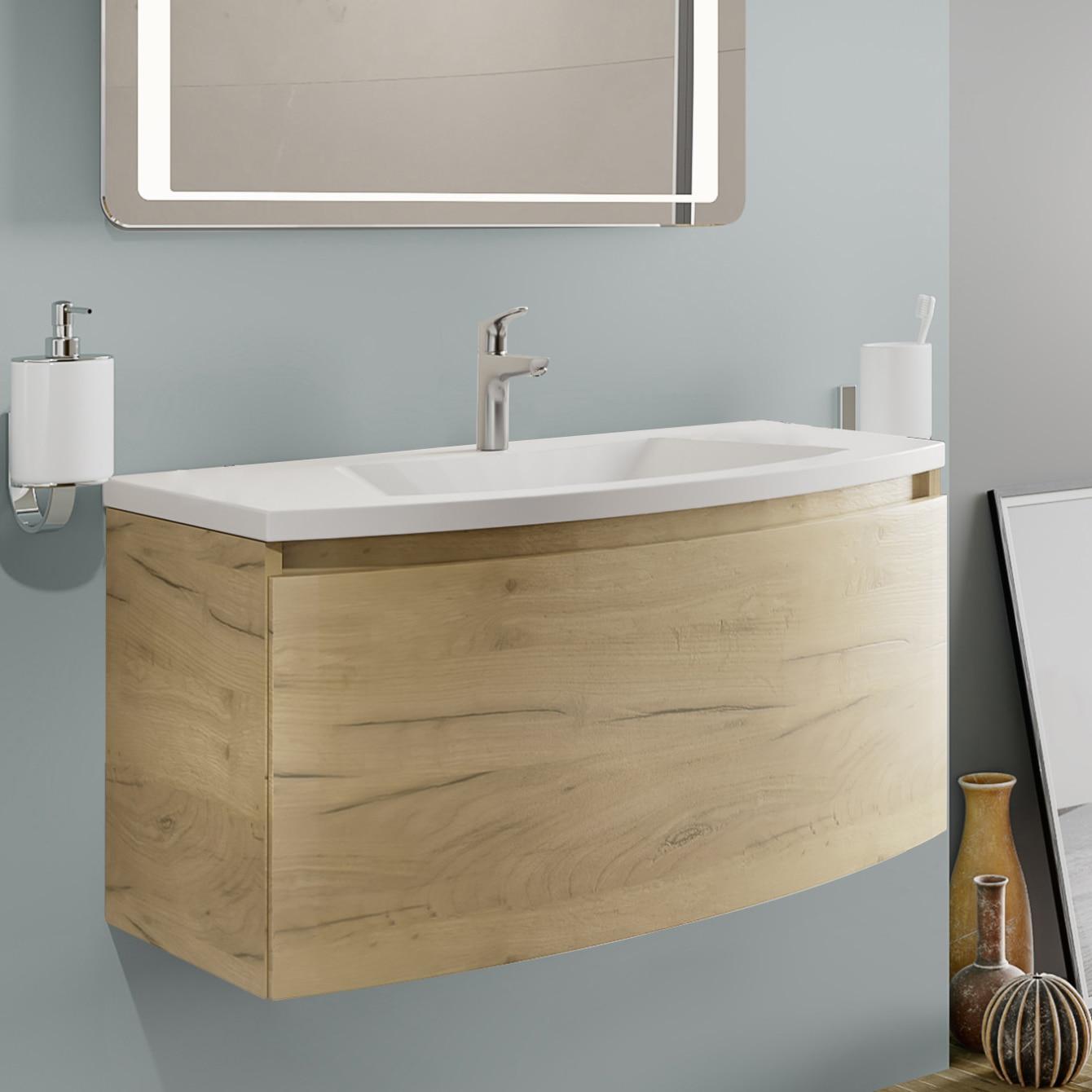 Fotografie Baza mobilier Kring Luna, cu un sertar cu inchidere amortizata, infoliat stejar auriu, 81x41x49 cm