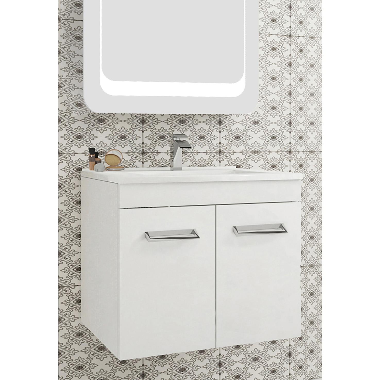 Fotografie Baza mobilier suspendat, cu doua usi cu inchidere amortizata, Kring Fly, alb, 60x51x47cm