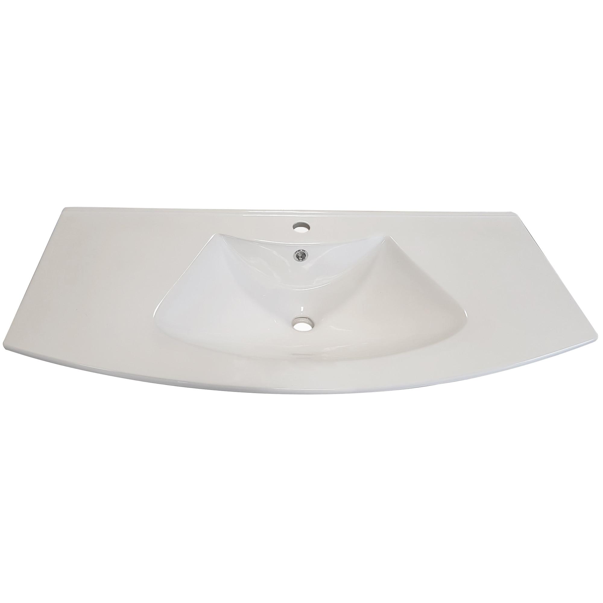 Fotografie Lavoar ceramic Kring Luna, alb, 102x18x49 cm