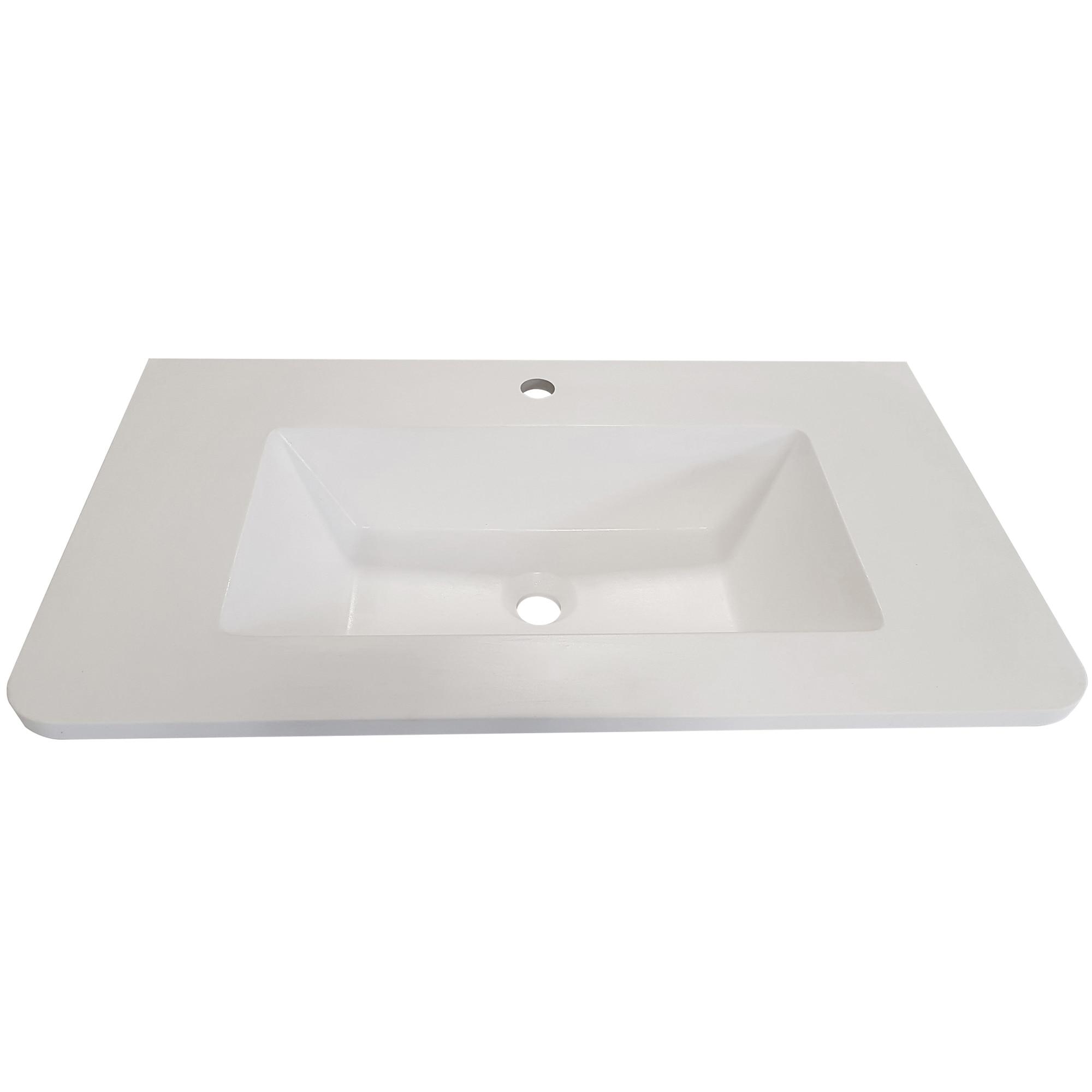 Fotografie Lavoar Kring Idris, din compozit alb, 81x15x47 cm