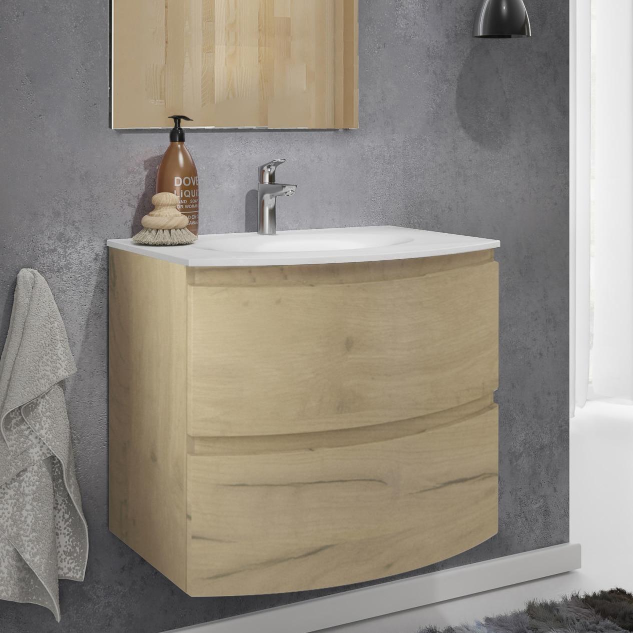 Fotografie Lavoar (chiuveta baie) Kring Veronica, din compozit alb, 69.5x13.2x50.5 cm