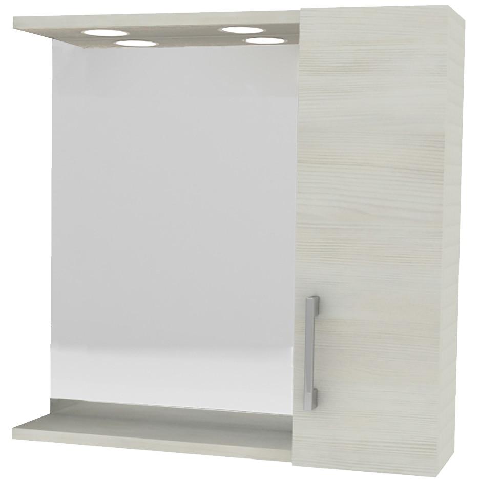 Fotografie Oglinda Kring cu dulapior si spoturi LED, stejar alb, 58x57x15.5 cm
