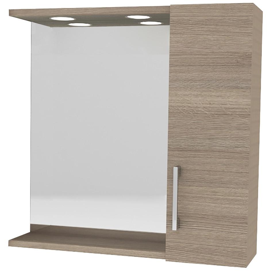 Fotografie Oglinda Kring cu dulapior si spoturi LED, stejar, 58x57x15.5 cm