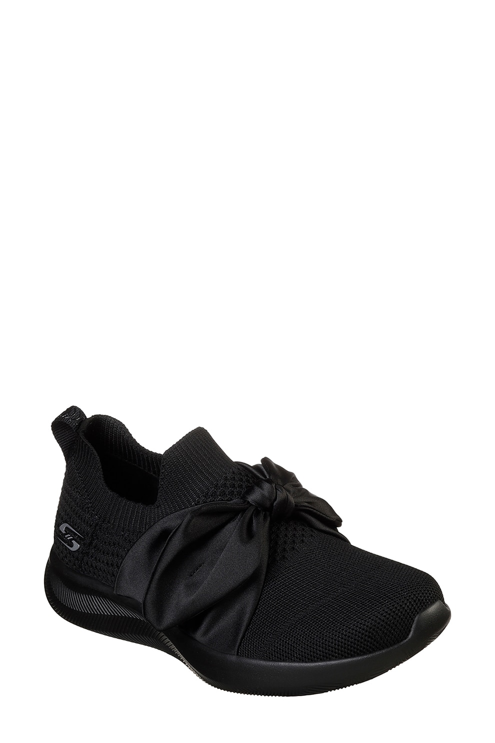 Skechers, Bobs Squad 2 Bow Beauty Bebújós sneaker masnival, Fekete, 37