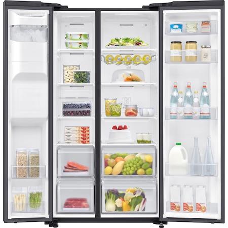 Хладилник Side by side Samsung RS65R54112C/EO, 617 л, Клас F, No frost, Auto Ice Maker, Диспенсър за вода, Компресор Digital Invertor, H 178 см, Черно стъкло