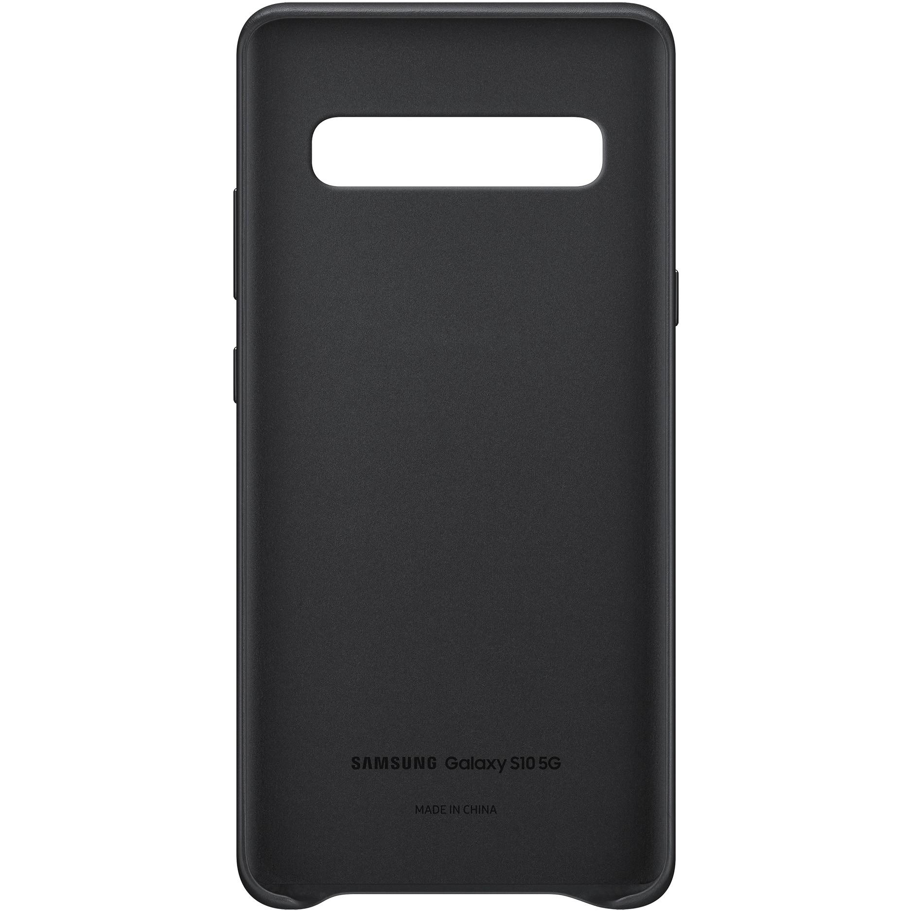 Fotografie Husa de protectie Samsung Leather Cover pentru Galaxy S10 5G, piele, Black